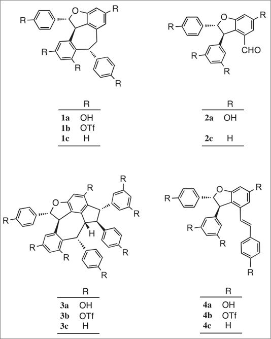 图 1. 白藜芦醇衍生物及其三氟甲烷磺酸酯和脱氢衍生物的结构