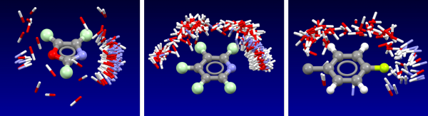 Isostar plot of oxazole, pyridine, fluorobenzene.