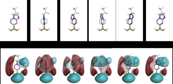 沿硼-碳键叠合与旋转以产生两种硼酸的静电图