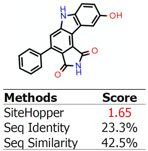 图5. SiteHopper检测到Wee-1与Traf-2激酶具有相似的结合位点,但是系列比对检测不到。