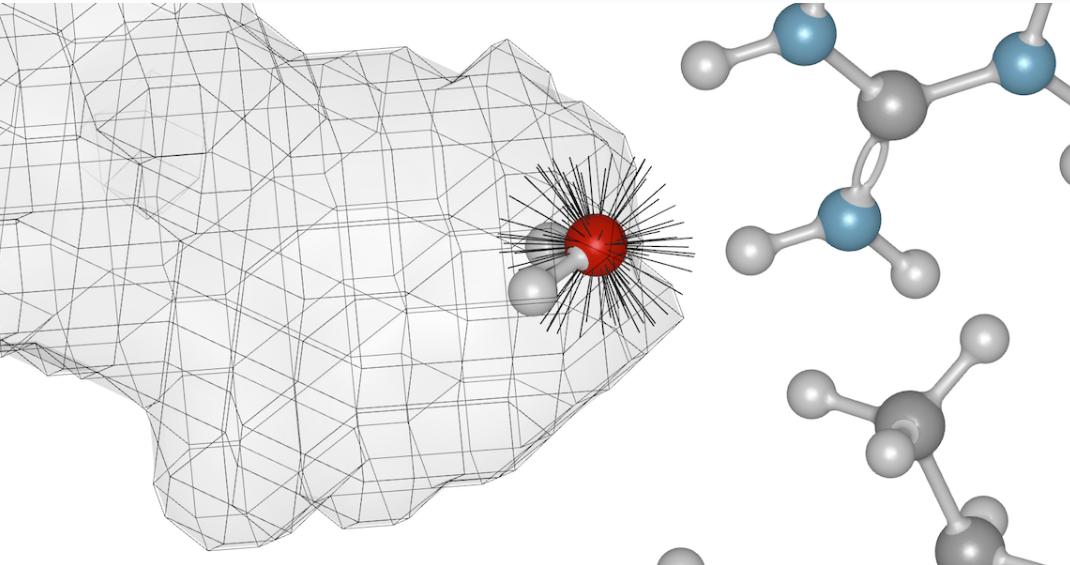 图1. SZMAP在蛋白-配体研究体系里放置显式水分子探针,并用隐式水填充其它位置。SZMAP可以在格点上或用户指定的位置采集水的取向